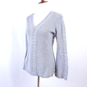 V Neck Cable Embellished Gray Sweater Small